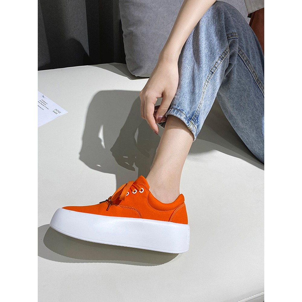 Light luxury▶Summer new style candy color canvas thick-soled muffin bottom slope with white shoes all-match casual women