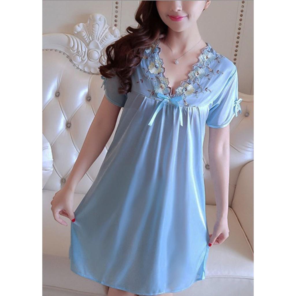 1867240444 - Đầm ngủ đầm mặc nhà mát mềm mịn ( LỤA TAY XANH NƯỚC BIỂN)