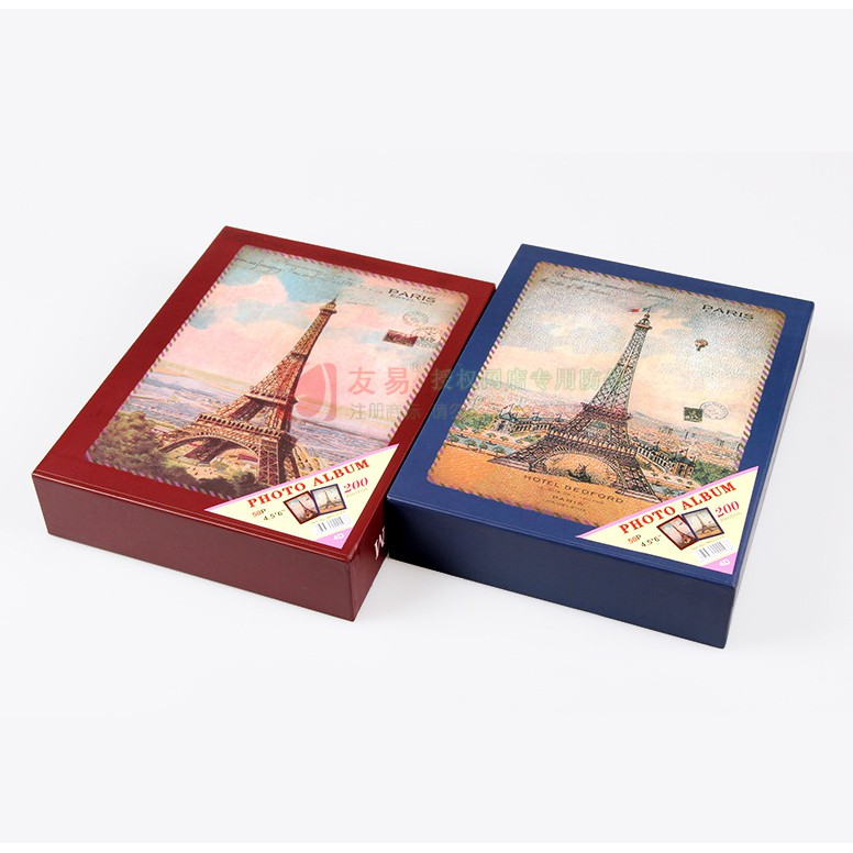 sỉ 5 cuốn Album Ảnh cỡ ảnh 10x15 họa tiết vintage hình tháp, để vừa 200 ảnh 10x15