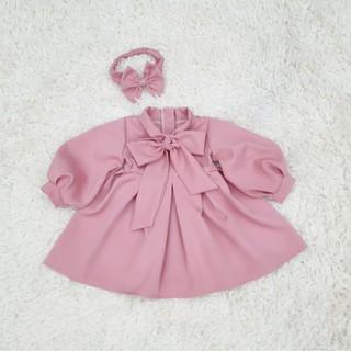 Váy tiểu thư cho bé gái mùa thu với thiết kế màu hồng dễ thương từ 6-30kg