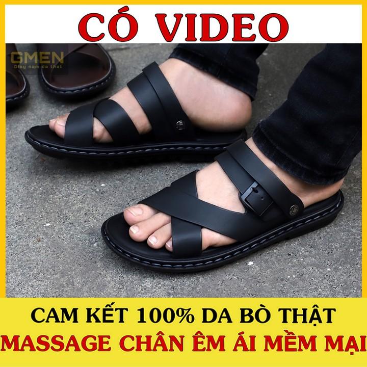 Sandal nam chất liệu da bò đế cao su khâu chỉ dù bền bỉ TK0868
