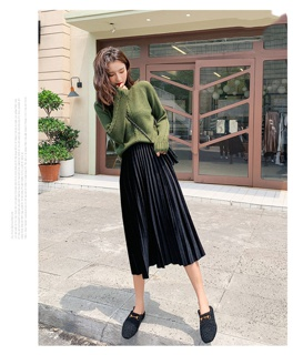 [Mã FAMAYWA giảm 10K đơn 50K] Chân váy xếp ly dài #65cm chân váy midi freesize