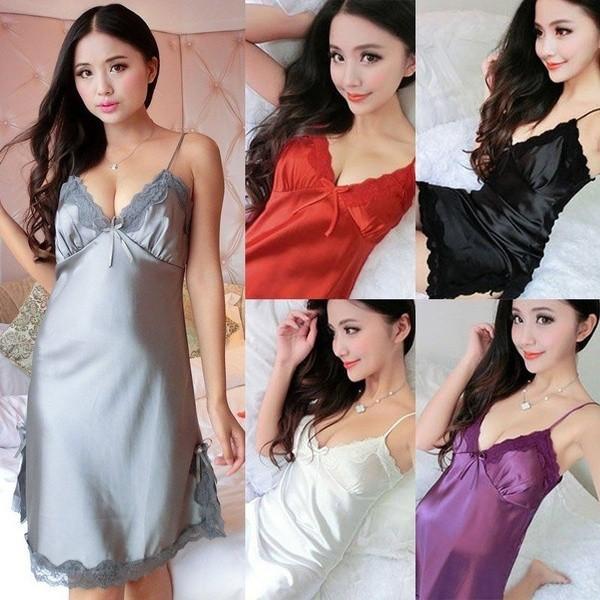 Đầm ngủ 2 dây cổ chữ V chất liệu lụa nhân tạo phối ren màu trơn quyến rũ cho nữ