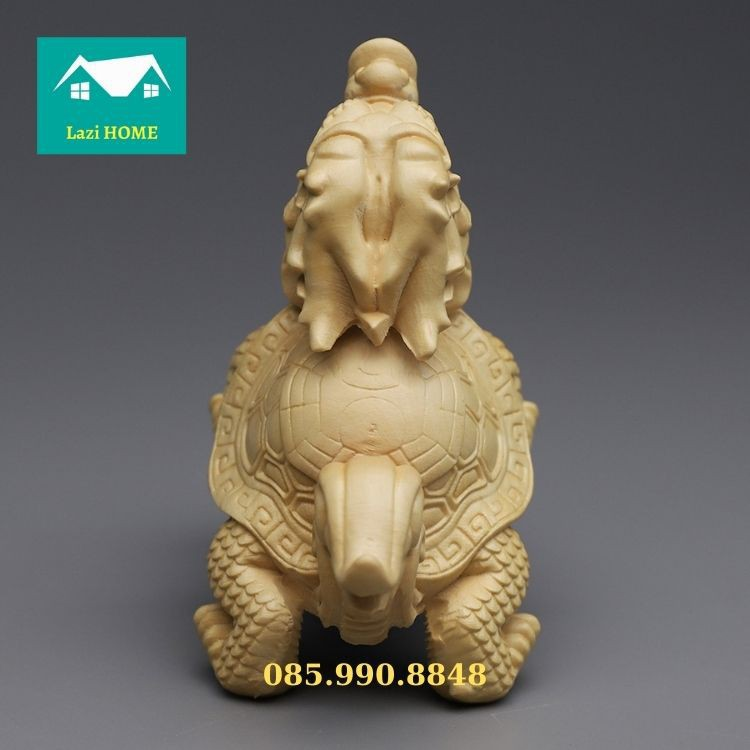Tượng trang trí gỗ Hoàng Dương cao cấp, tượng phật phong thủy - M3 Rồng Rùa