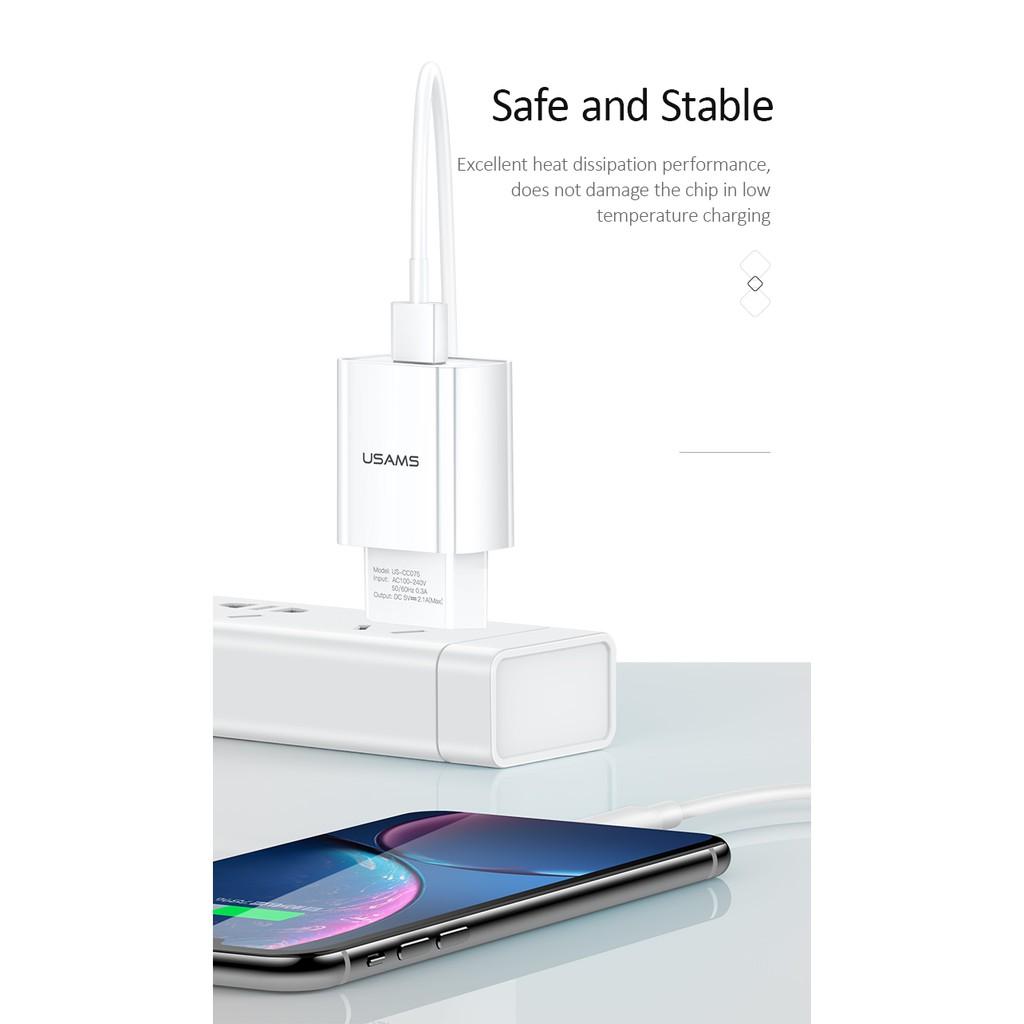Cốc Sạc Nhanh USAMS T18 Cho Iphone Oppo Samsung Huawei Vivo Xiaomi