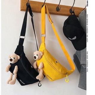 túi bao tử thời trang kèm gấu chất vải canvas B001 thumbnail
