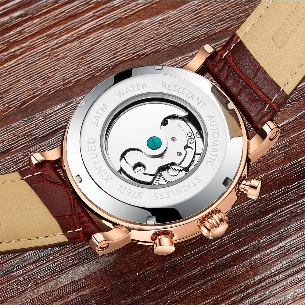 Đồng hồ cơ nam Kinyued JYD-J018 dây da chạy full kim