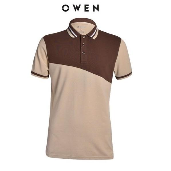 OWEN - Áo polo nam Owen màu be nâu 22336 - Áo thun ngắn tay có cổ nam