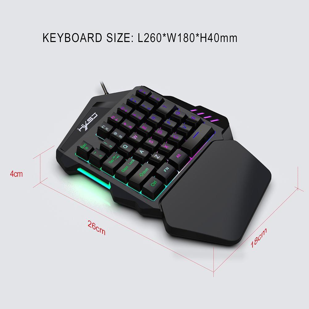 Bàn Phím Gaming Bán Cơ Một Tay LED RGB Có 35 Phím Hỗ Trợ Chơi Game HXSJ V100