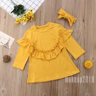 Mu♫-Hot Lovely Autumn Winter Yellow Tutu Kids Baby Girls Long Sleeve Warm Basic Tops Shirts Pullover