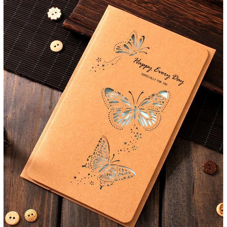 Thiệp giấy Kraft Thiệp tình yêu ❤️FREESHIP❤️ Thiệp chúc mừng (sẵn phong bì) phong cách Vintage