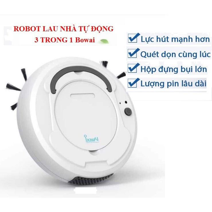 Robot hút bụi Bowai thông minh, Robot lau nhà tự động công nghệ AI 3 trong 1