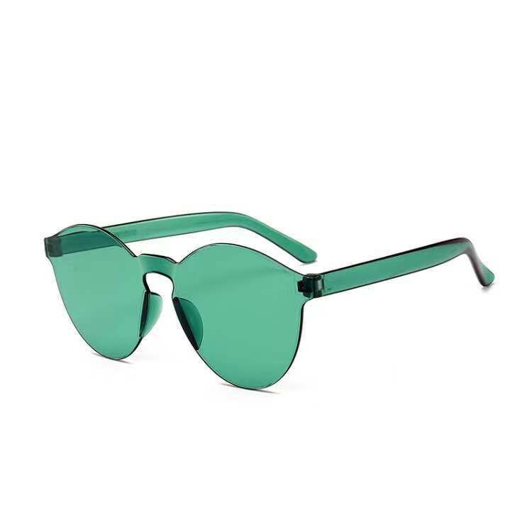 Green Series Parent-Child Love Girl Heart Korean Sunglasses Retro Street Shooting Ins Sunglasses Jumping Di Couple Glass
