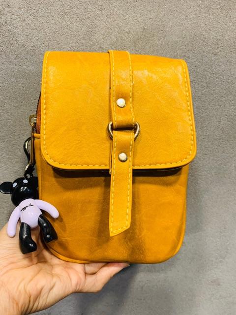 Túi xách đeo chéo đựng điện thoại + Móc treo gấu BEIBAOBAO DC31