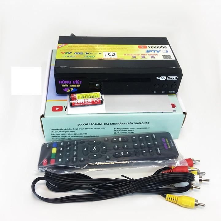 Đầu thu kỹ thuật số DVB-T2 Hùng Việt TS123Y XEM YOUTUBE + Tặng anten thông minh + 15m dây