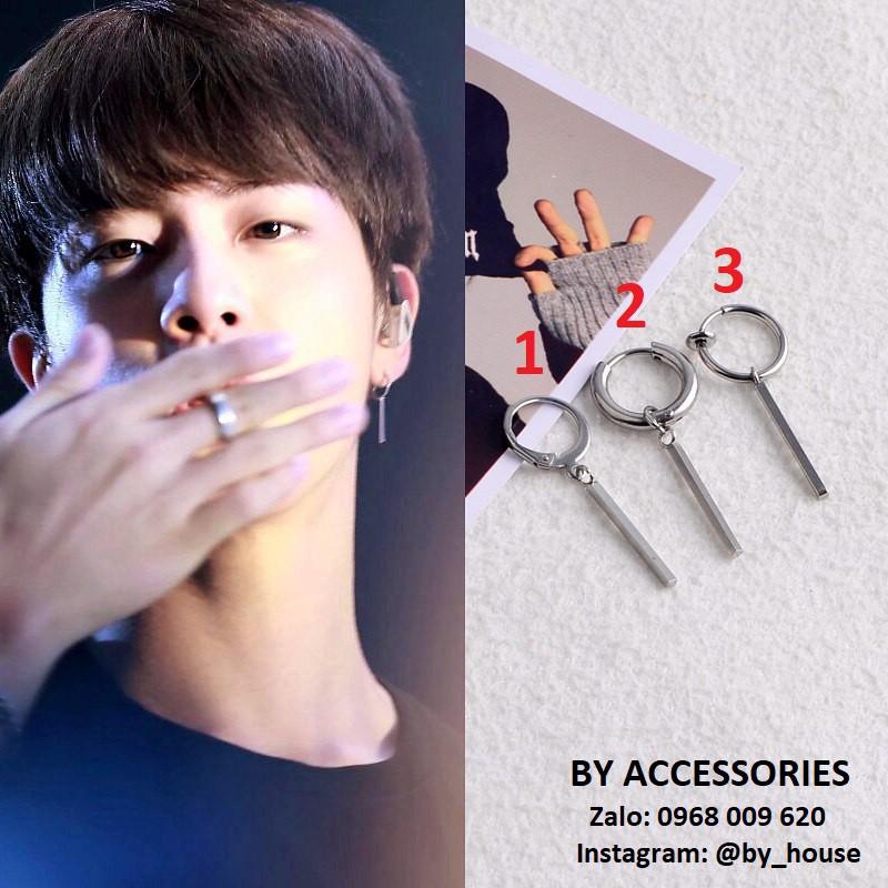 Bông tai titan thanh dài Jin BTS có 2 loại xỏ lỗ và kẹp không gỉ
