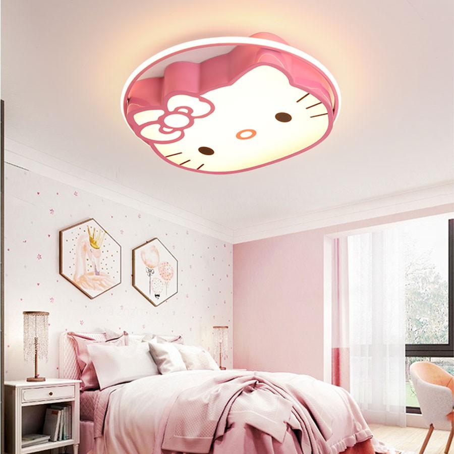 Đèn ốp trần, Đèn ốp trần phòng ngủ cho bé, Ốp trần hìnhhelokity cho phòng bé gái dễ thương_Bảo hành 1 năm_Đèn 3 màu sáng