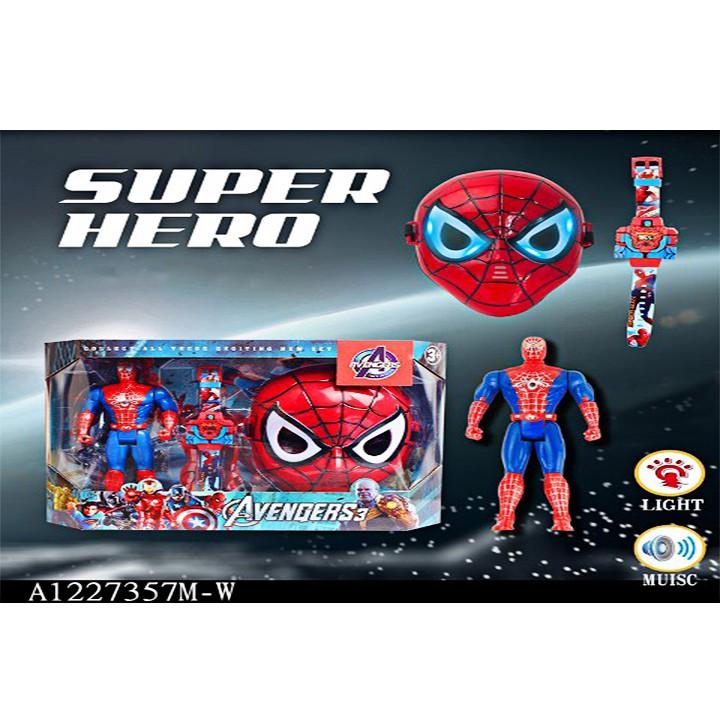 Trò chơi mặt nạ hoá trang thành siêu anh hùng người nhện có đèn, có nhạc (kèm pin)