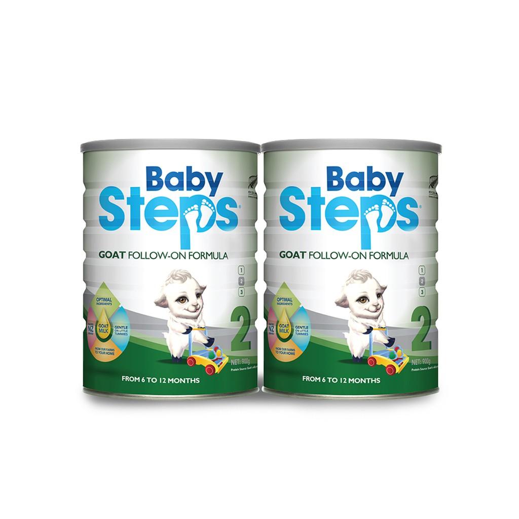 Combo 2 lon Sữa Dê Công thức Baby Steps Goat Follow-On Formula số 2 900gr