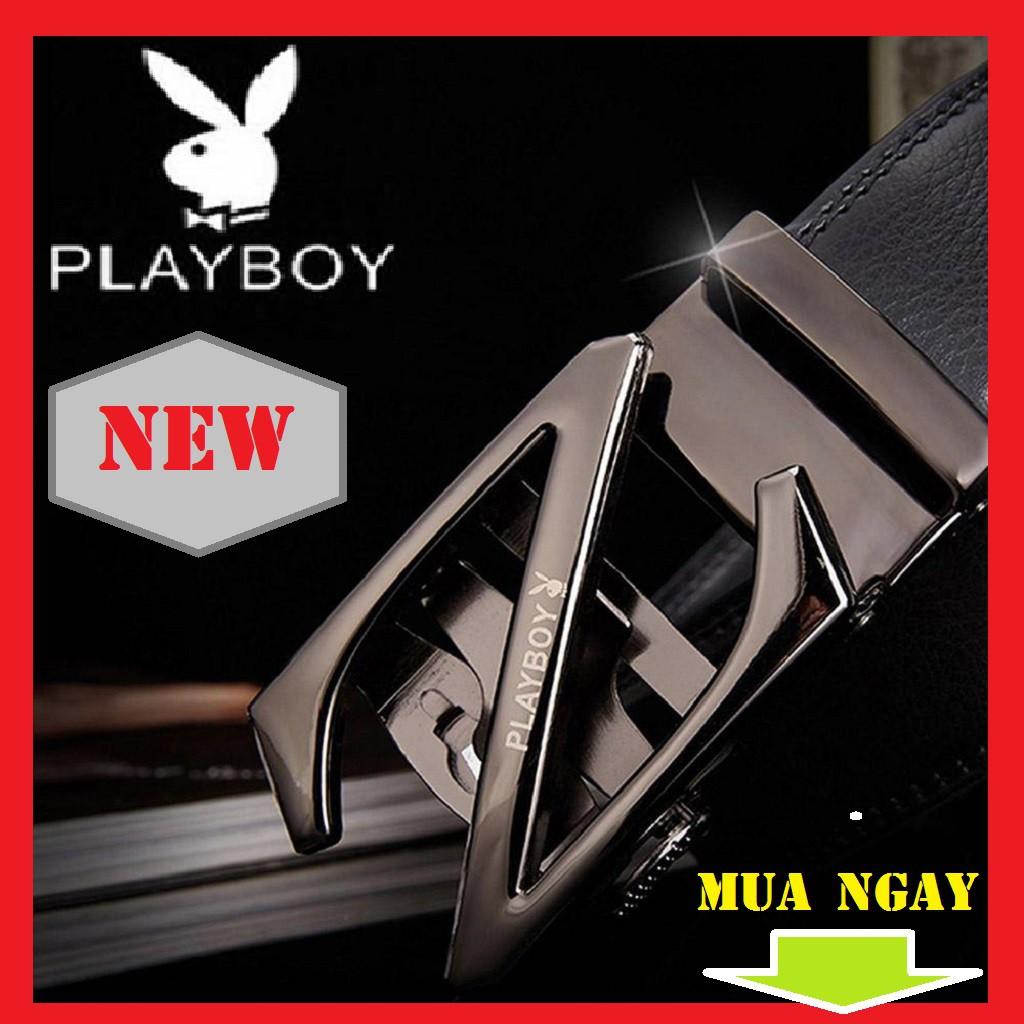 (CAO CẤP)Thắt Lưng Da Nam Khóa Tự Động Cao Cấp Dây Nịt Nam Da Bò Chính Hãng Playboy Z1 Dây 2 Da May 2 Bên   khóa bạc