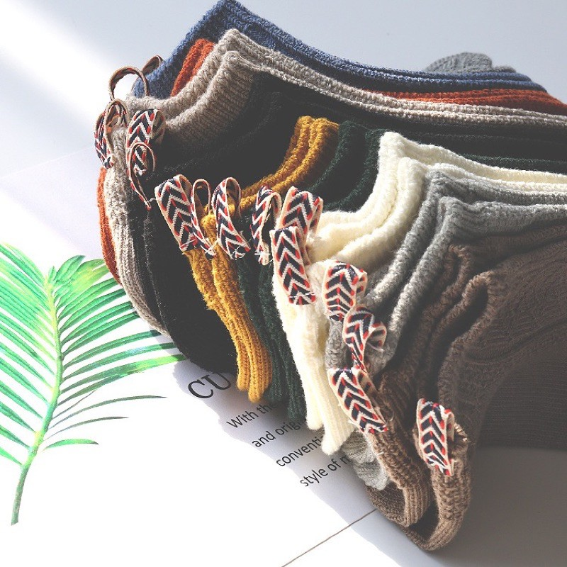Vớ Tất Cổ Ngắn Len Gân 10 màu [FREESHIP] giữ ấm chân dành cho cả nam và nữ