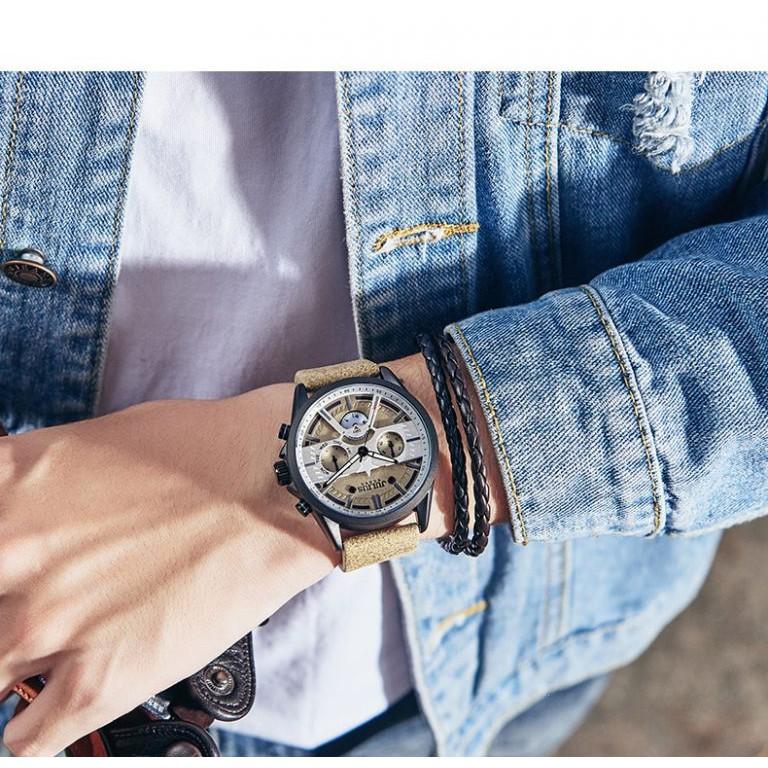 Đồng hồ nam Julius Homme Hàn Quốc JAH-106 dây da phong cách bụi (Chon màu)