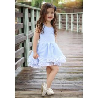 Đầm xòe tầng phối ren 2 dây đáng yêu dành cho bé