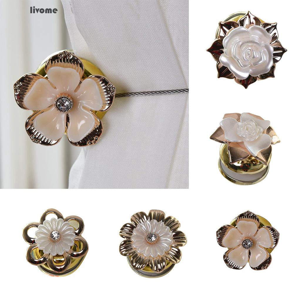 ✨AL✨ 1Pc Elegant Rose Flower Magnetic Buckle Curtain Tieback Accessories Home Decor