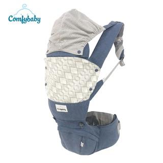 Địu ngồi trẻ em cao cấp Air mesh – siêu mềm thoáng khí 4 tư thế Comfybaby HC003 cho bé từ sơ sinh trở lên có mũ đỡ đầu