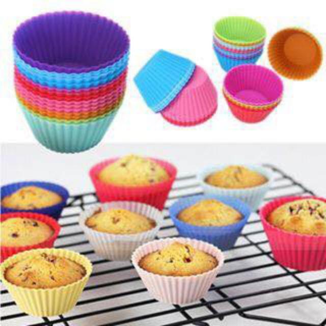 10 cup cake silicon dùng nướng bánh tái sử dụng tiện lợi