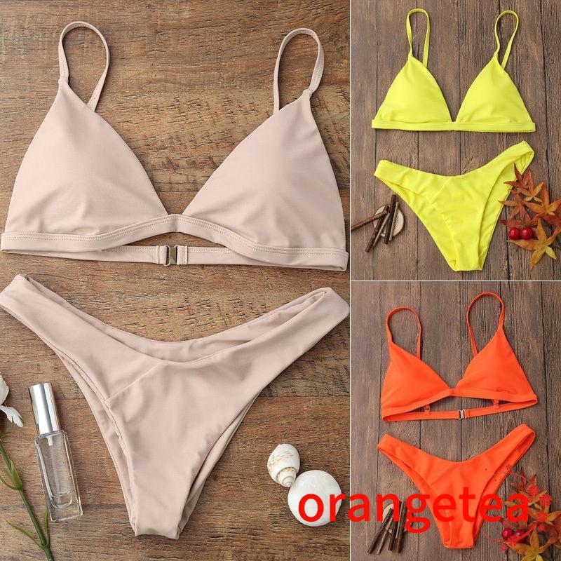 Bộ bikini màu sắc có miếng đệm nâng ngực quyến rũ cho nữ