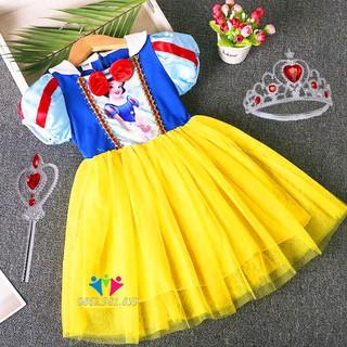 Váy Công Chúa Bạch Tuyết Cho Bé Có Gậy Thần Và Vương Miện. Đầm công chúa Bạch Tuyết thời trang bé gái