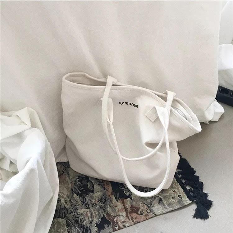 Túi tote vải bố trơn mềm phong cách Hàn Quốc đựng đồ canvas