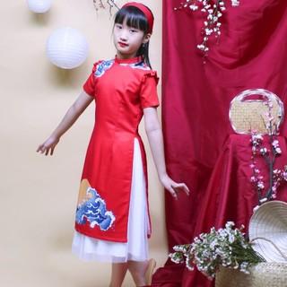 Áo dài bé gái cách tân thiết kế họa tiết đẹp mắt , chất liệu lụa cát mềm mịn, mát mẻ thoải mái- Jadiny