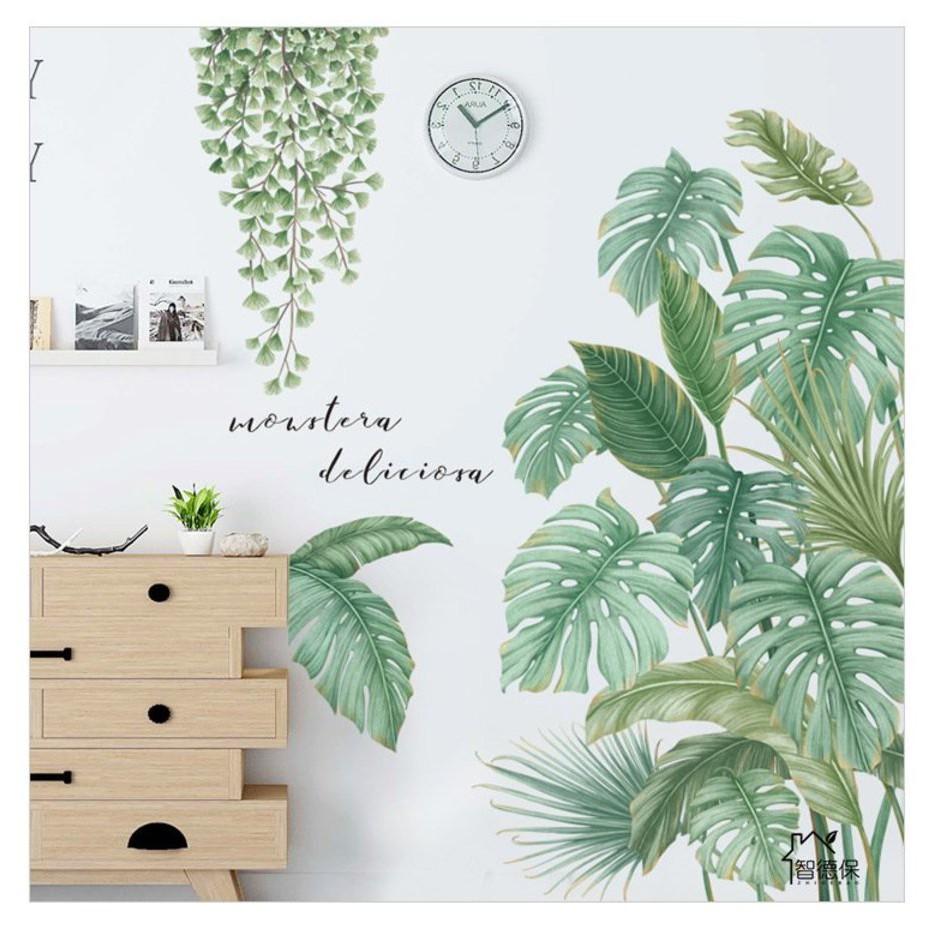 Decal dán tường trang trí - Decal 3d lá xanh - Giấy dán tường trang trí phòng khách, phòng ngủ - Tặng kèm keo sữa