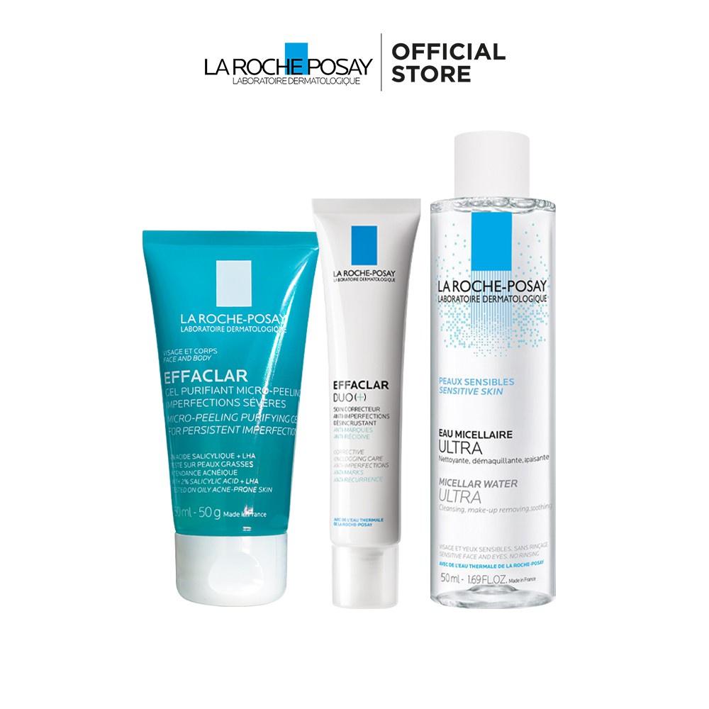 Bộ sản phẩm giảm mụn, ngăn ngừa vết thâm, làm sạch và bảo vệ da La Roche-Posay Effaclar Duo+