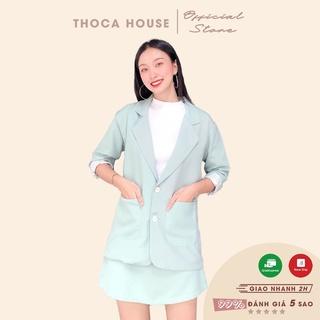 Set áo khoác vest 2 túi phối chân váy lưng thun xanh mint THOCA HOUSE vải dày đi làm, đi học freesize dưới 56kg thumbnail
