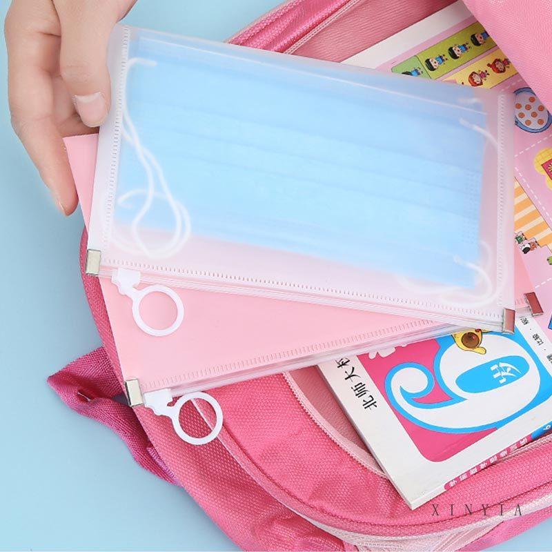Túi đựng khẩu trang có dây khóa kéo chống thấm nước họa tiết Hàn Quốc tiện dụng có thể rửa sạch dùng khi đi du lịch