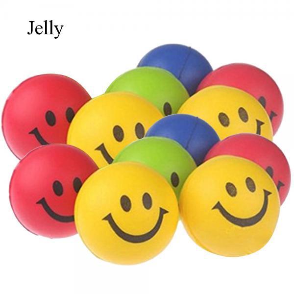 12 Pcs PU Smile Soft Squeeze Anti Stress Relief Round Ball Random Color J291