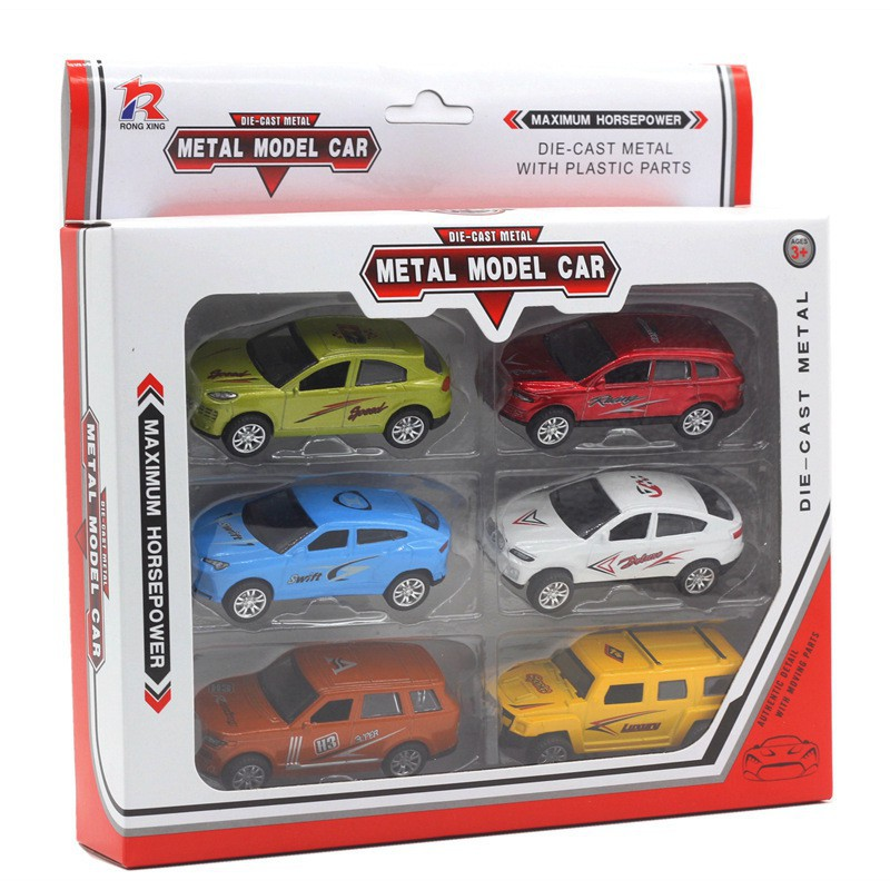 6 alloy pull back sports car model set children's toy style toys