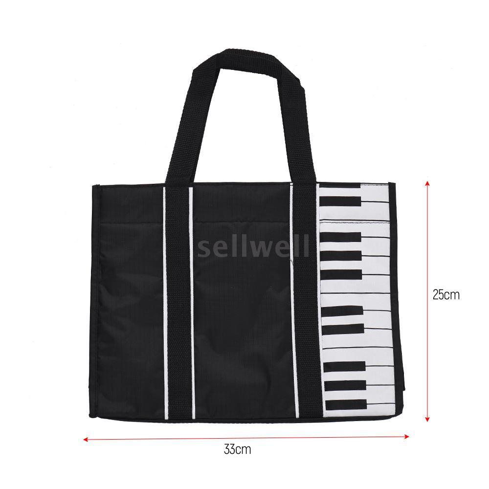 Waterproof Handbag Music Tote Shoulder Grocery Shopping Bag 5mm Cotton Padding with Piano Key Pattern