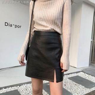Chân Váy Da Màu Đen Thiết Kế Xẻ Tà Thời Trang Cá Tính Cho Nữ