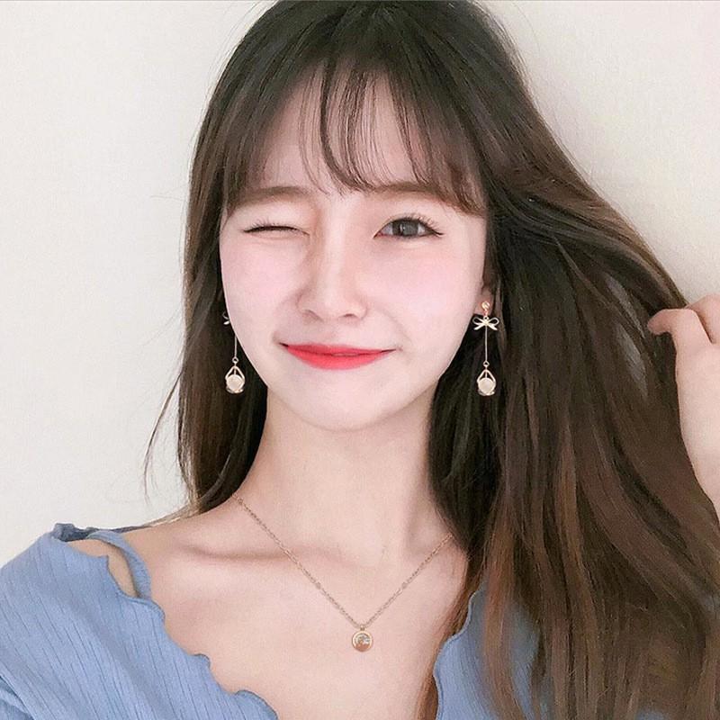 🔥 Bông tai tròn cá tính nơ đính ngọc thả dài ưu chuộng nhất Hàn Quốc - Hoa tai BT62