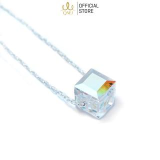 Dây chuyền bạc QMJ Đá 7 màu thiết kế đơn giản - Q050