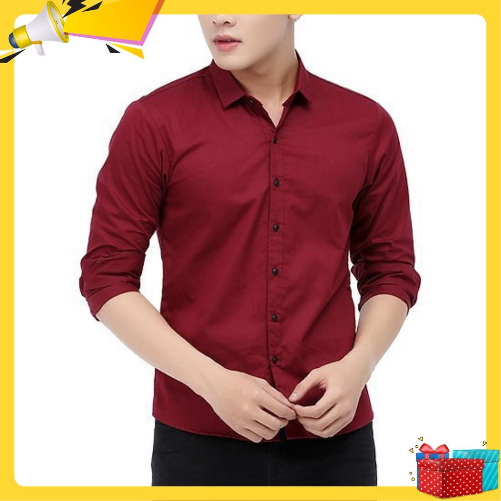 ÁoSơ mi nam Hàn Quốc vải lụa đẹp trơn màu đỏ đô số lượng c