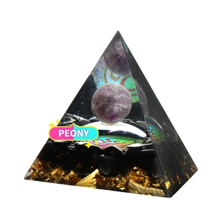 PEONY Shelf Decor Orgone Pyramid Spirtual Things EMF Protection – Healing Positive Energy Generator Chakra|Orgonite Boost Immune System Hand Craft Gifts for Women with Obsidian|Decor