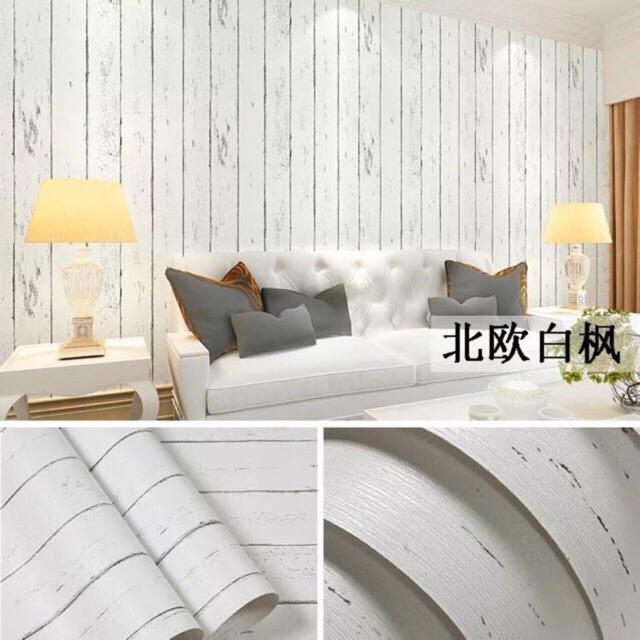 Giấy dán tường giả gỗ trắng có keo sẵn cuộn dài 10 mét khổ rộng 45cm - 3572688 , 1227233032 , 322_1227233032 , 110000 , Giay-dan-tuong-gia-go-trang-co-keo-san-cuon-dai-10-met-kho-rong-45cm-322_1227233032 , shopee.vn , Giấy dán tường giả gỗ trắng có keo sẵn cuộn dài 10 mét khổ rộng 45cm