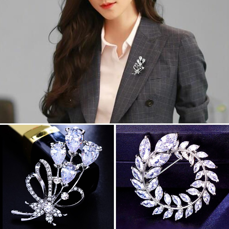 ❁Ms fashion crystal brooch atmospheric swan corsage, south Korean pins deserve to act the role of contracted suit cardi