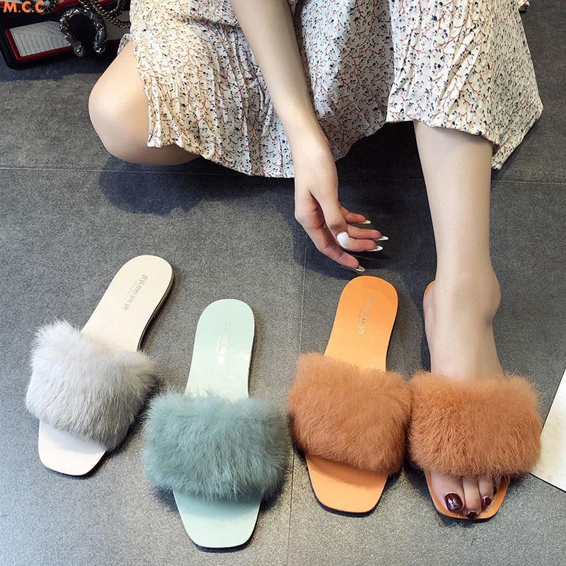 ผู้หญิงรองเท้าแตะขนนุ่มด้านล่างสวมใส่ 2,0179 นางฟ้าใหม่ด้านล่างแบนเกาหลีลื่นหัวตารางป่าคำขี้เกียจลาก