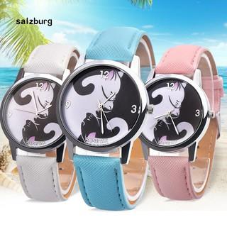 Đồng hồ kim họa tiết con mèo dây đeo giả da thời trang dành cho các bé thumbnail